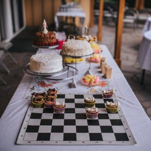 Chess themed summer wedding table