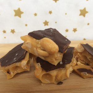 Peanut brittle with milk chocolate