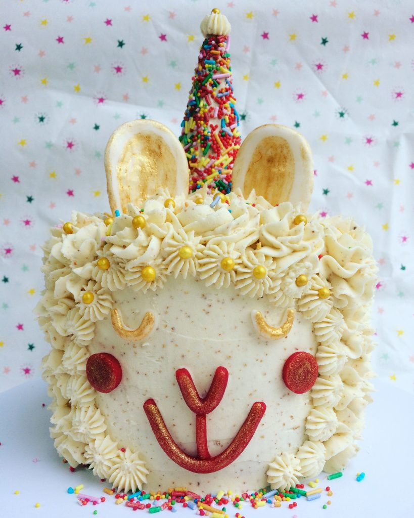 Lucy the Llama carrot cake with brown butter frosting