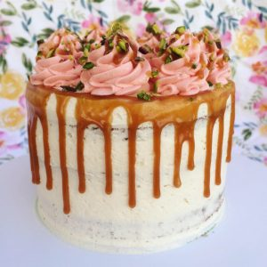 Chai Latte Cake with Honey Caramel Drip